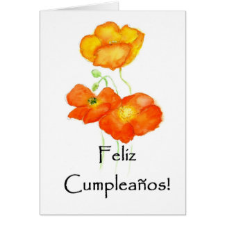 Iceland Poppies Birthday Card - Spanish Greeting