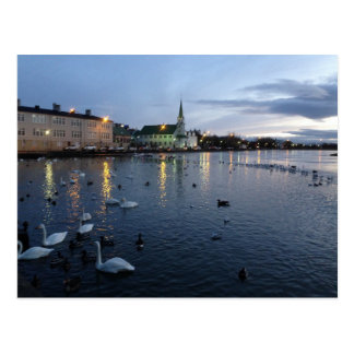 Iceland - Reykjavik - Lake At Dusk Postcard