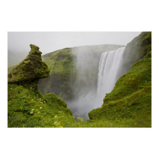 Iceland. Skogarfoss Waterfall plunges over a Posters