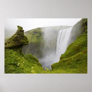 Iceland. Skogarfoss Waterfall plunges over a Poster