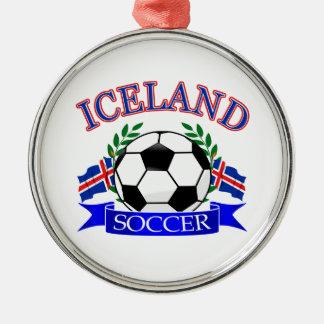 Iceland soccer ball designs metal ornament