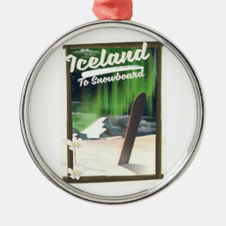 Iceland to Snowboard Metal Ornament