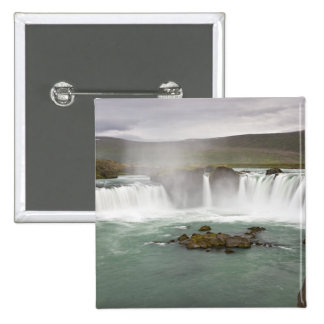 Iceland. View of Godafoss Falls on the 2 Inch Square Button