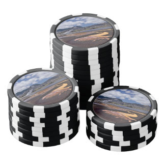 Iceland volcanic mountains at summer day poker chips