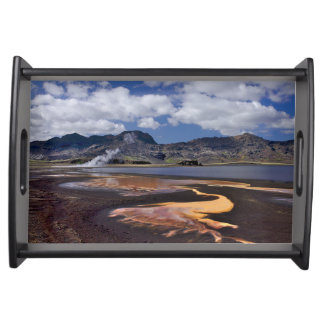 Iceland volcanic mountains at summer day serving tray