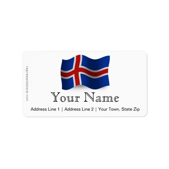 Iceland Waving Flag Label