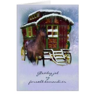 Icelandic Christmas Card - Horse And Old Caravan -
