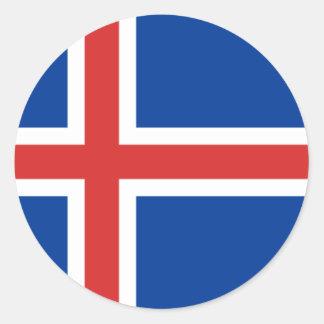Icelandic flag classic round sticker