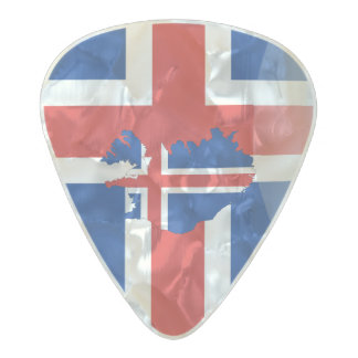Icelandic flag pearl celluloid guitar pick