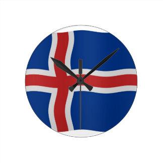 Icelandic flag round clock