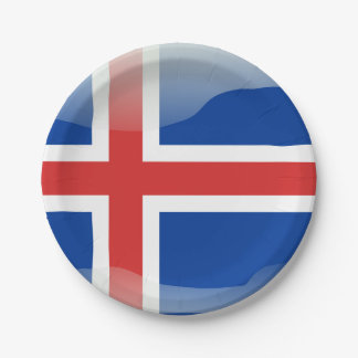 Icelandic glossy flag 7 inch paper plate