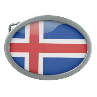 Icelandic glossy flag oval belt buckle