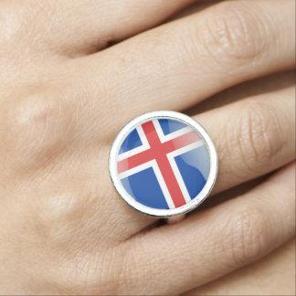 Icelandic glossy flag photo rings