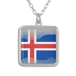 Icelandic glossy flag silver plated necklace