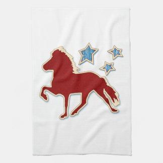 Icelandic Horse Festive Stars Kitchen Towel