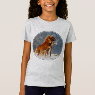 Icelandic Horses Foal Play Snow Funny - for girls T-Shirt