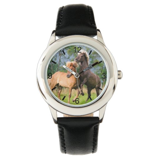 Icelandic Horses Funny Play Rearing - dial-plate - Watch