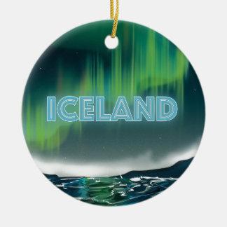 Icelandic Northern Lights Travel Art Ceramic Ornament