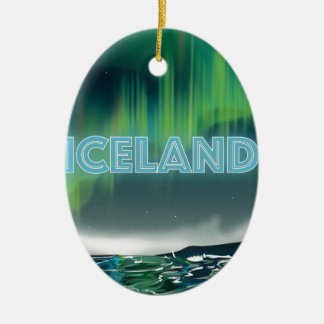 Icelandic Northern Lights Travel Art Ceramic Oval Ornament