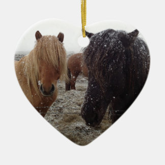 Icelandic Ponies, Iceland horses in snow gifts Ceramic Ornament