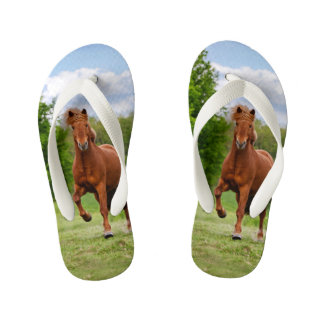 Icelandic Pony Tölt Funny Photo Horse Lovers  Kids Kid's Flip Flops