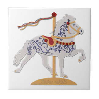 Icelandic Rose Scroll Carousel Horse Tile