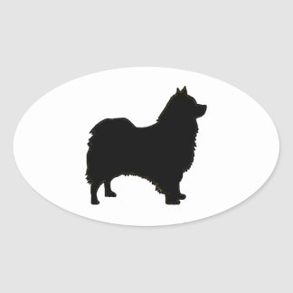 icelandic sheepdog silhouette oval sticker