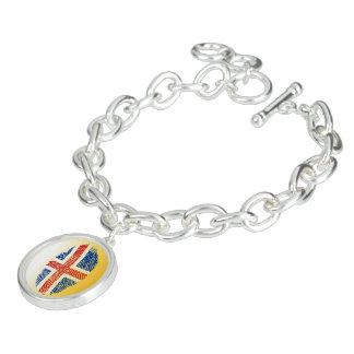 Icelandic touch fingerprint flag charm bracelets