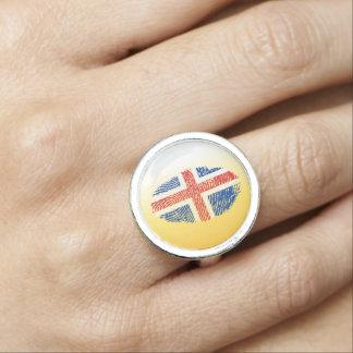 Icelandic touch fingerprint flag rings