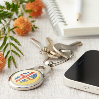 Icelandic touch fingerprint flag Silver-Colored oval keychain