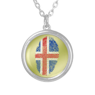 Icelandic touch fingerprint flag silver plated necklace