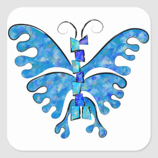 Icelonius - blue ice butterfly square sticker