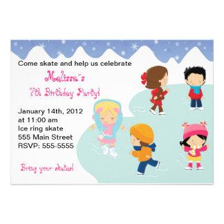 Iceskating Snowflake Birthday Party Invitations