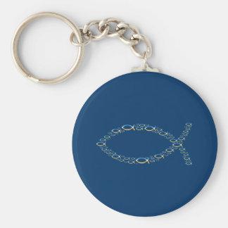 Ichthus - Christian Fish Symbol  Sky & Ground Basic Round Button Keychain