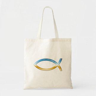 Ichthus - Christian Fish Symbol  Sky & Ground Budget Tote Bag