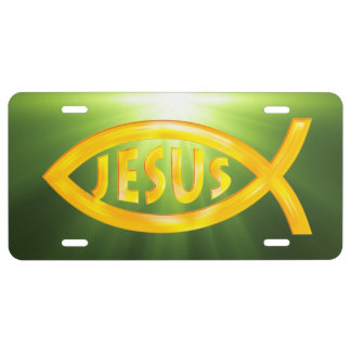 Ichthus - Christian Fish with Inscription Jesus License Plate