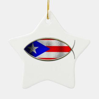 Ichthus - Puerto Rican Flag Ceramic Star Ornament