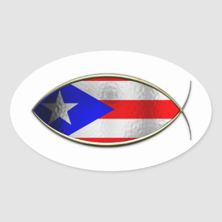 Ichthus - Puerto Rican Flag Oval Sticker