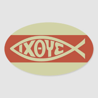 Ichthys (Christian Fish Symbol) Oval Sticker