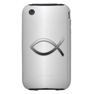 Ichthys Jesus Fish Silver Flare Christian Symbol Tough iPhone 3 Cases