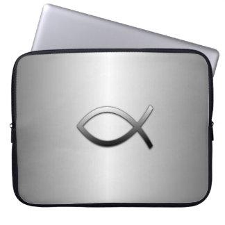 Ichthys Jesus Fish Silver Flare Christian Symbol Laptop Computer Sleeve