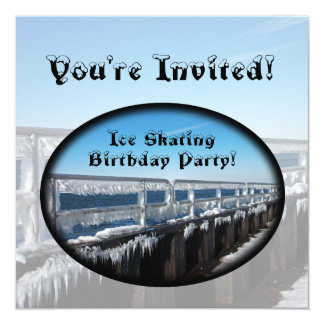 Icicles, Ice Skating Birthday Party Personalized Invitation