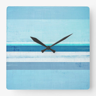 'Icing' Blue Abstract Art Square Wall Clock