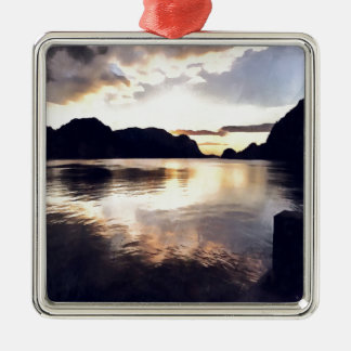 Icmeler Seascape Silver-Colored Square Ornament