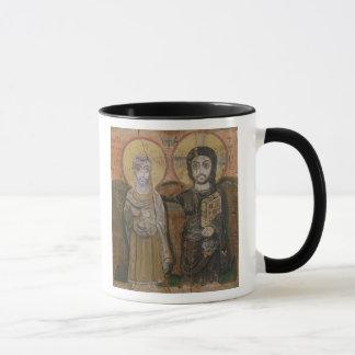 Icon depicting Abbott Mena with Christ