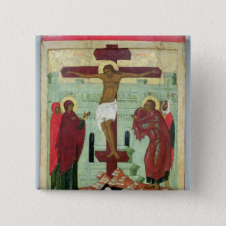 Icon depicting the Crucifixion with the Virgin 2 Inch Square Button