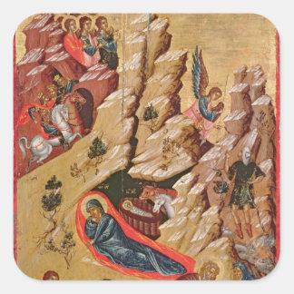 Icon depicting the Nativity Square Sticker