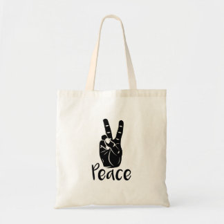 "Icon hand peace sign with text ""PEACE"""