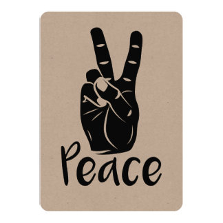 """Icon hand peace sign with text """"PEACE"""" 5"""" X 7"""" Invitation Card"""