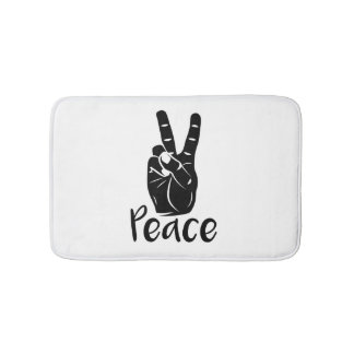 "Icon hand peace sign with text ""PEACE"" Bath Mat"